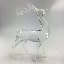 Hot sale small size deer shaped led clear acrylic christmas ornament with music
