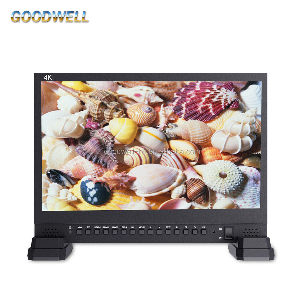 Made in China 3840x2160 IPS Panel 4x HDMI Ingangen 15 Inch LCD HD-SDI Monitor voor Broadcassting