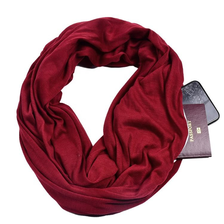 Hot Sale Multifunctional Loop Women Scarf With Hidden Zipper Pocket Ladies Infinity Scarf
