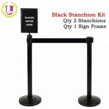 Retractable Belt Posts Black Crowd Control Barrier
