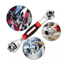 48-in-1 Multifunctional Socket Tiger Wrench Multi-angle Wrench with 6 Corners, 360-Degree Rotating Head,Rubber Handle