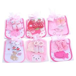 3 in 1 cotton baby socks with bibs and gloves mittens set