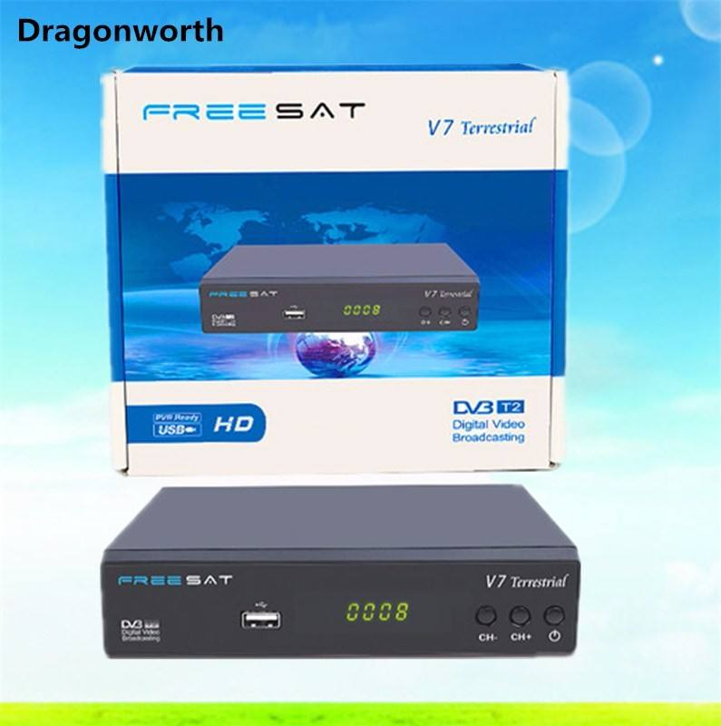 2019 New model Freesat V7 terrestrial hd mpeg 4 digital terrestrial DVB T2/T satellite receiver 2019 ali m3821 dvb t2