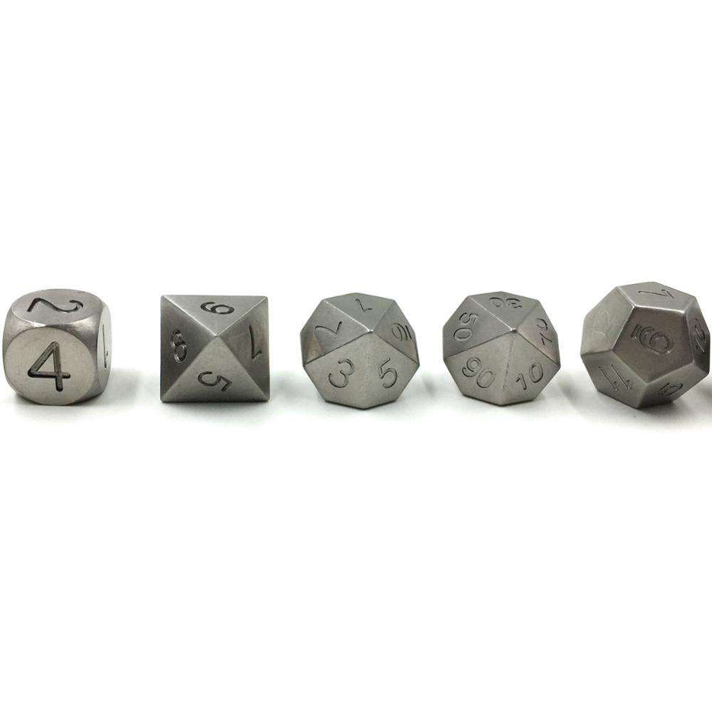 MBW CNC Machined Metal Polyhedral Tungsten dice custom dice set