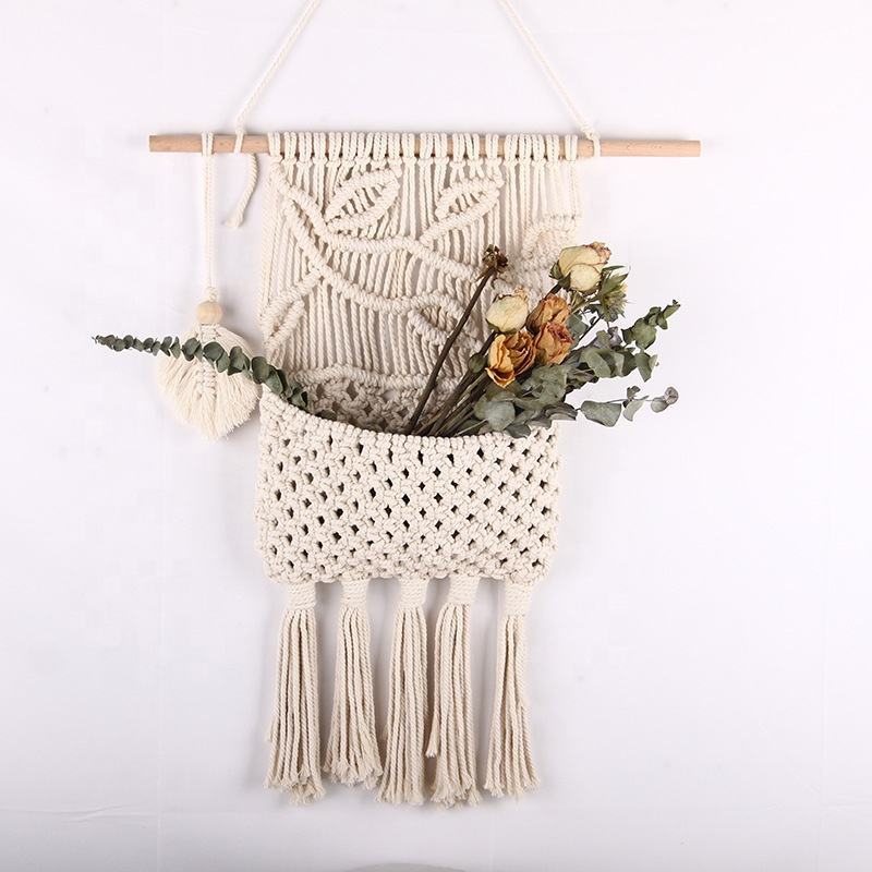 Factory DIY home decor 100% Cotton macrame plant hangers macrame wall hanging handmade for decoration