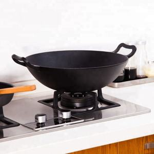 2018 Hot Selling Cast Iron Chinese Wok 40cm Cast iron Cookware Wok Pan With Lid