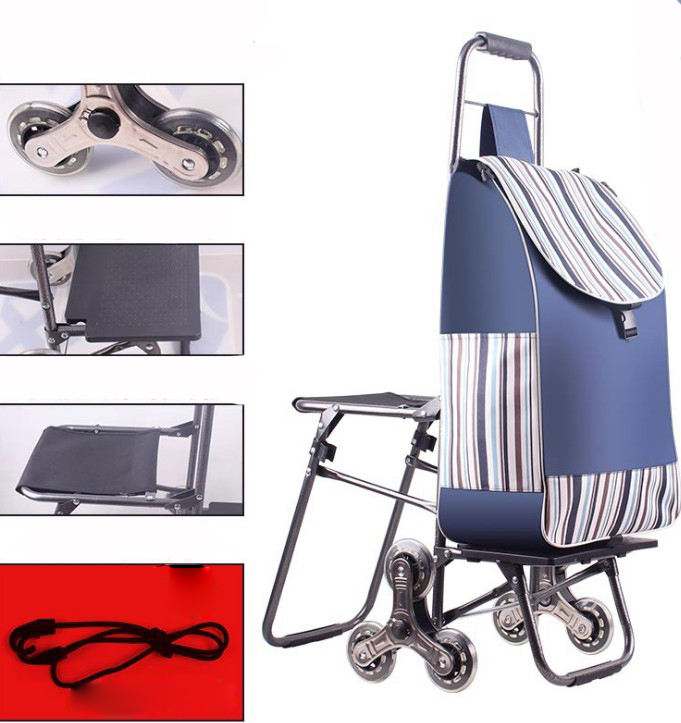 Yiwu made good quality market use Stair climbing Fold-able Shopping Trolley bag