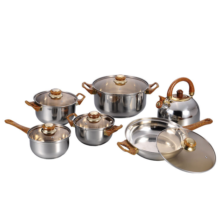 best selling 12pcs stainless steel cookware set with 2.5LT kettle kaisa hoff