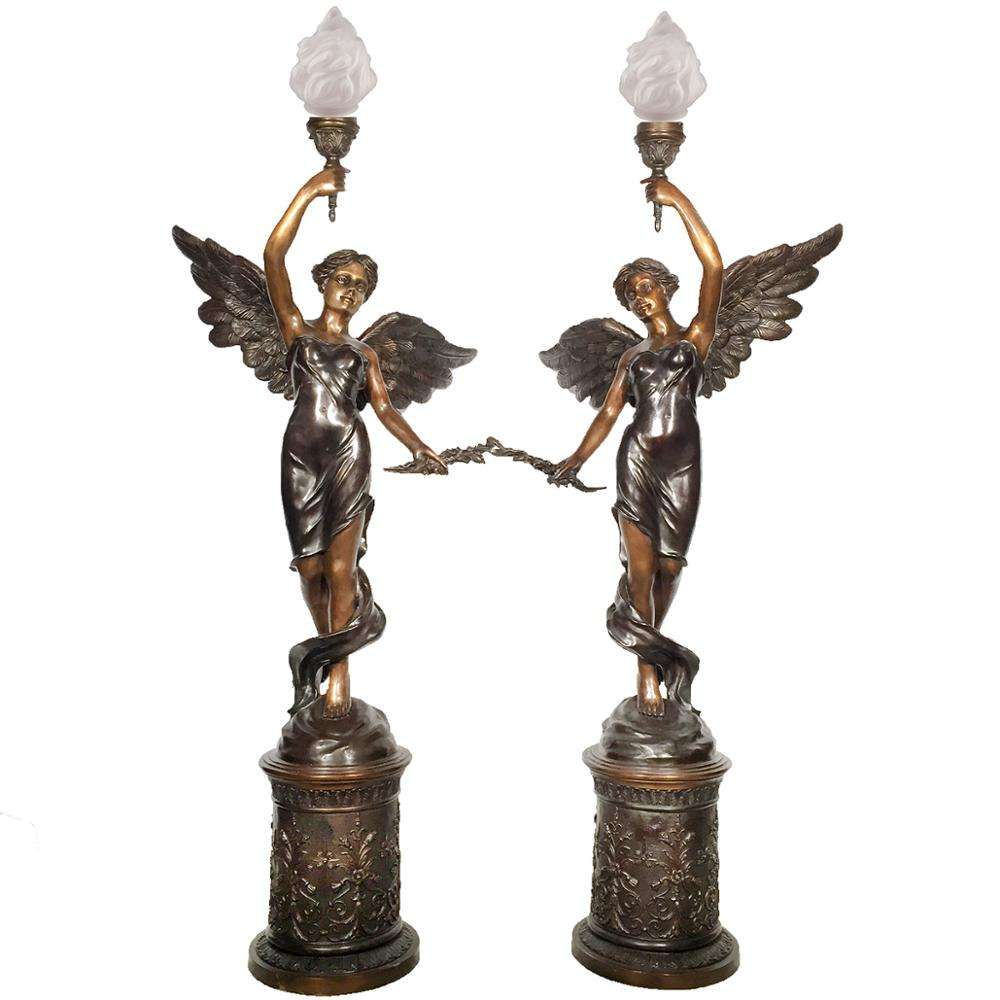 Antique Bronze Angel Statues Indoor Lamp Pillar Pair Copper Sculpture