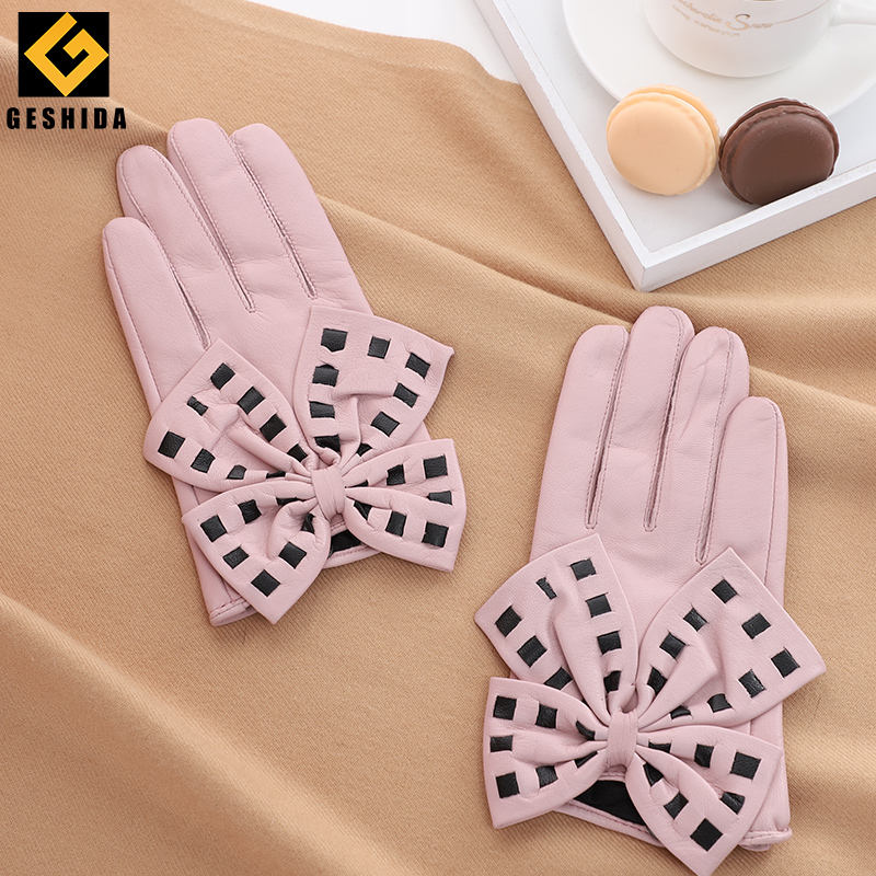 Popular multi-colored lady's large bow spotted sheepskin leather gloves for gift