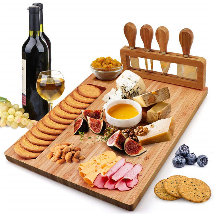 new design 2019 picnic time bamboo cheese board set with cheese server