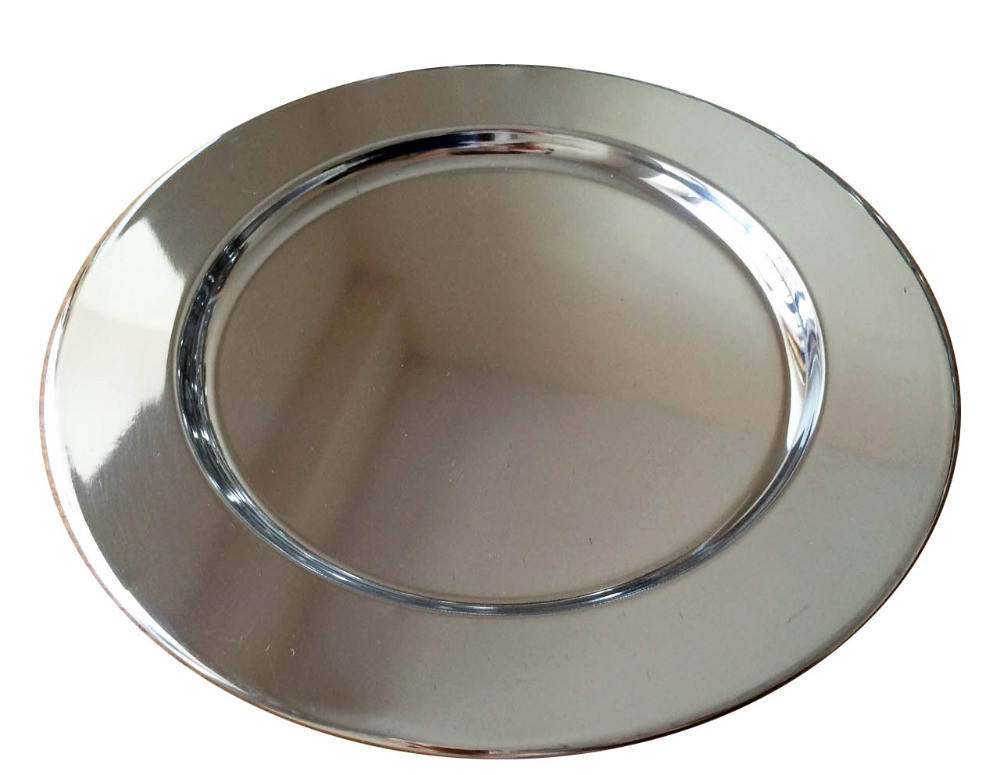 30cm 12inch Silvery European Party Round Dinner Tray Wedding Decorative Gold Charger Plates 12'' in guangzhou