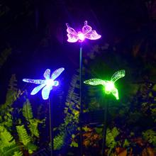 Solar Stake Lights Outdoor Color Changing LED Lights with Clear Butterfly Hummingbird Stake Outdoor Garden Pathway Lawn Yard