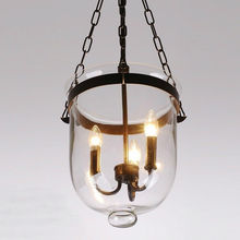 Retro Loft Iron Glass Bucket Shade Pendant Lamp Hanging Light Indoor Pendant Light