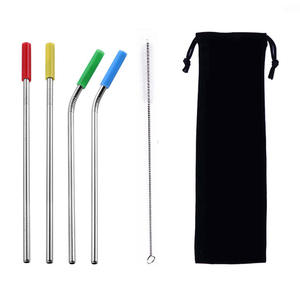 8.5inch stainless steel metal straw reusable straw with Silicone Nozzle environmentally friendly