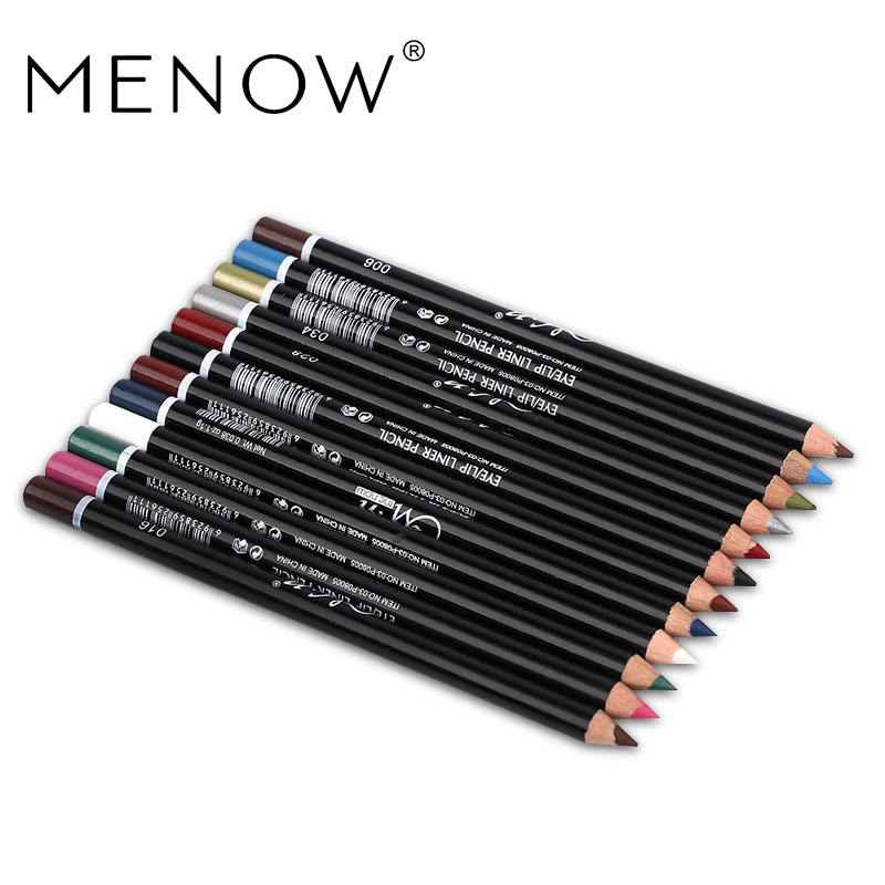 MENOW 12 Colors/set Eye Make Up Eyeliner Pencil Waterproof Eyebrow Beauty Pen Eye Liner Lip sticks Cosmetics Eyes Makeup