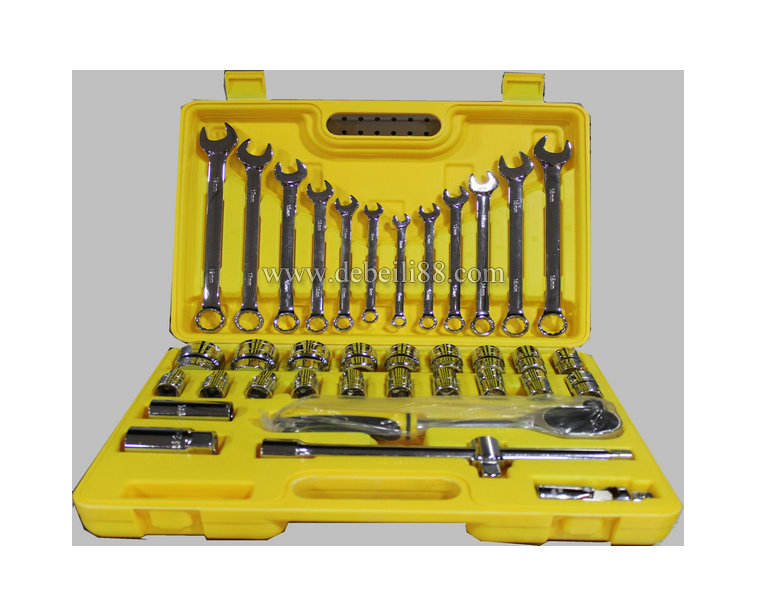 36PC Adjustable car Repair tool box set kit Ratcheting Socket Wrench vehicle AX'TONE