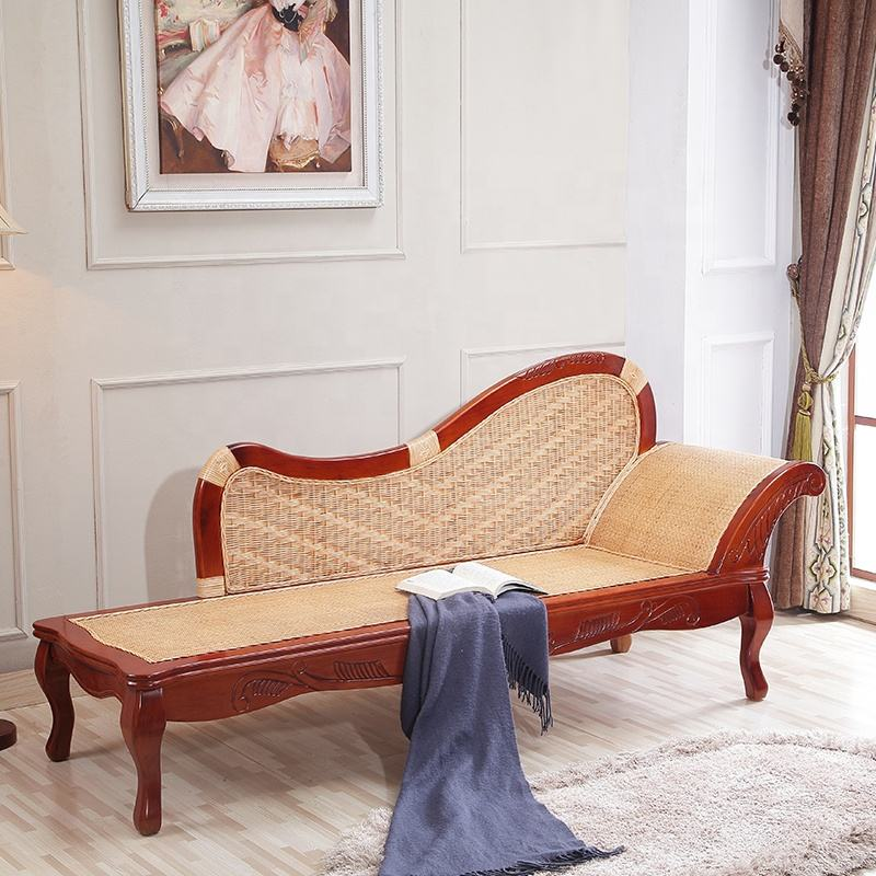 Elegant Cane Wood Living Room Furniture Chaise Lounge