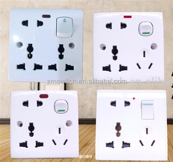 Bangladesh type 6 pin multi socket with switch and Neon