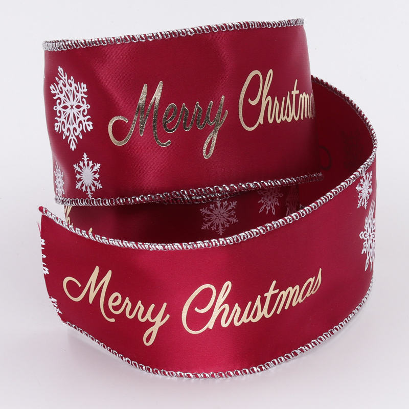 Satin Ribbon Factory Custom Logo Printed Wired Edge Christmas Satin Ribbon