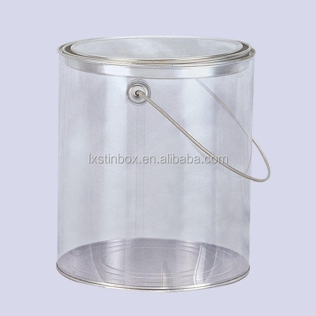 Cylindrical Clear PVC body Popcorn Tin pail bucket with lid, size 170*190mm