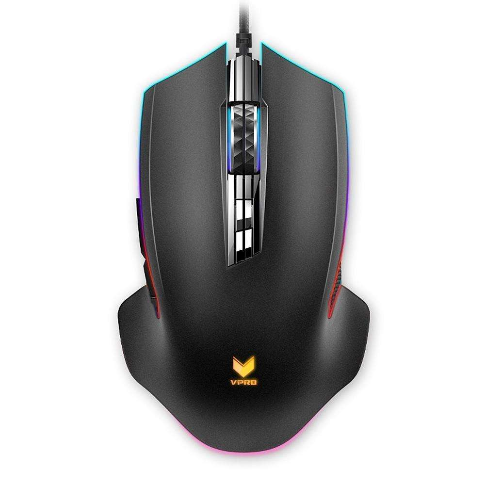 Hot Koop Rapoo V20 Pro Wired Gaming Mouse Met RGB Backlight 9 Knoppen Programmeerbare Nauwkeurige Cursor-Zwart