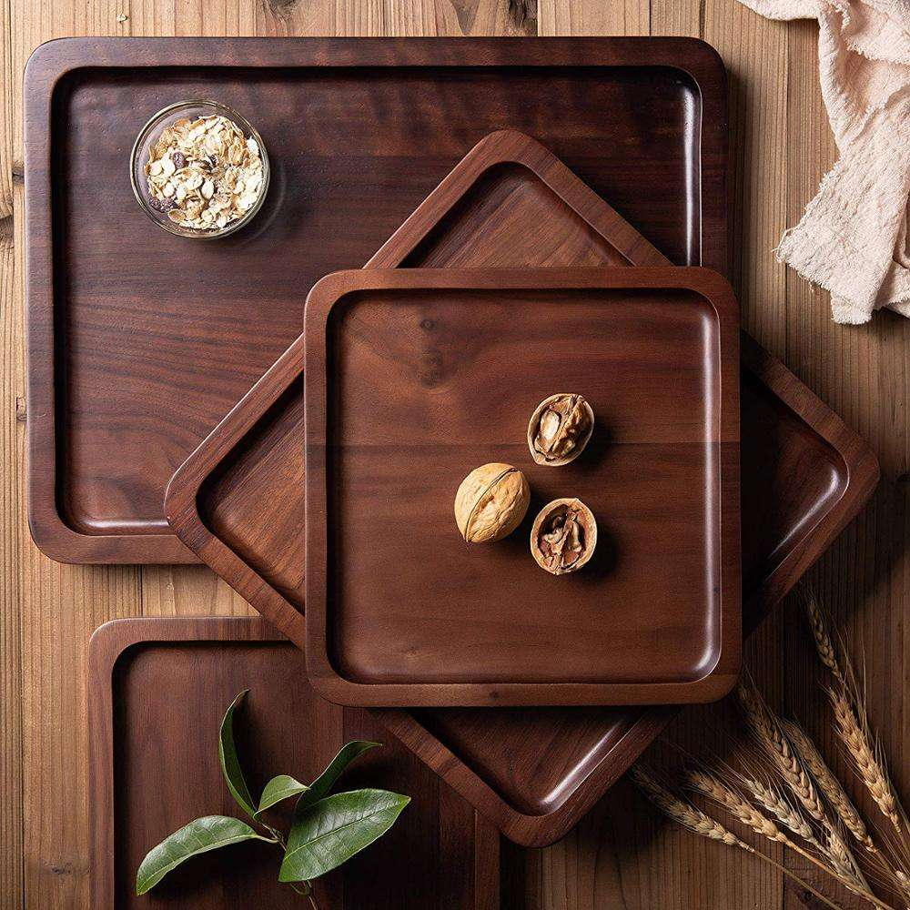 Classic Rectangle Wood Table Tray Coffee Tea Platter Customized Square Food Serving Tray
