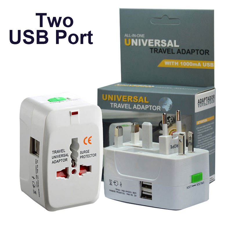 US EU UK Plug Adaptor International Outlet Socket Universal Travel Adapter With 2 USB Ports