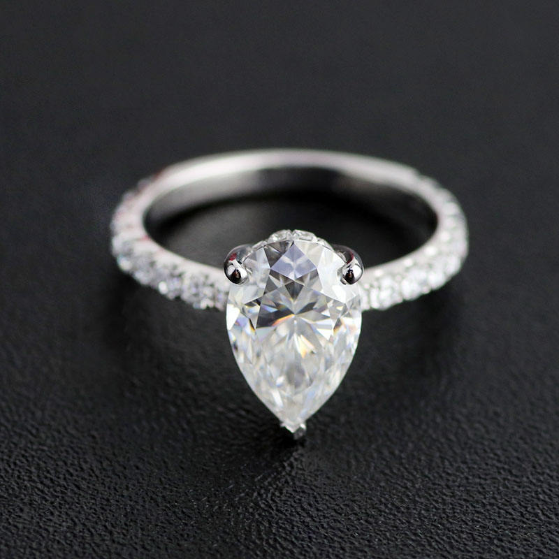New finished Pear 6x8mm center moissanite 14k solid white gold engagement ring for lovers