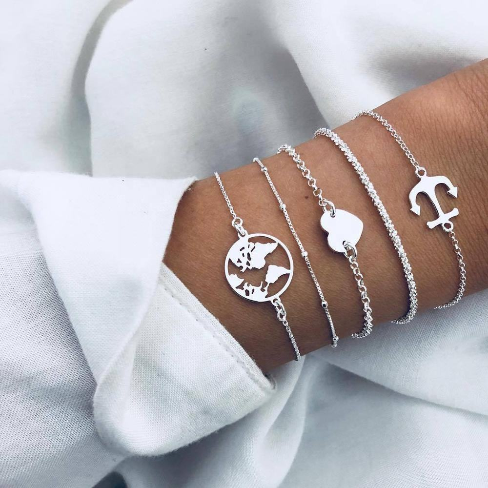 HB1130 Simple Style World Map Heart Silver Chain Wholesale Bracelets Popular Jewelry Sets Anchor Bracelet With Charms