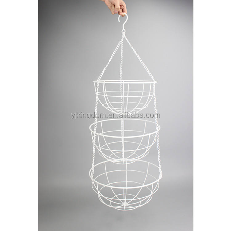550-58B household 3 tier round hanging wire fruit basket with chain