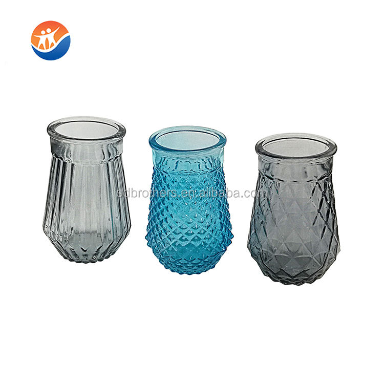 simple style embossed glass flower vase wholesale