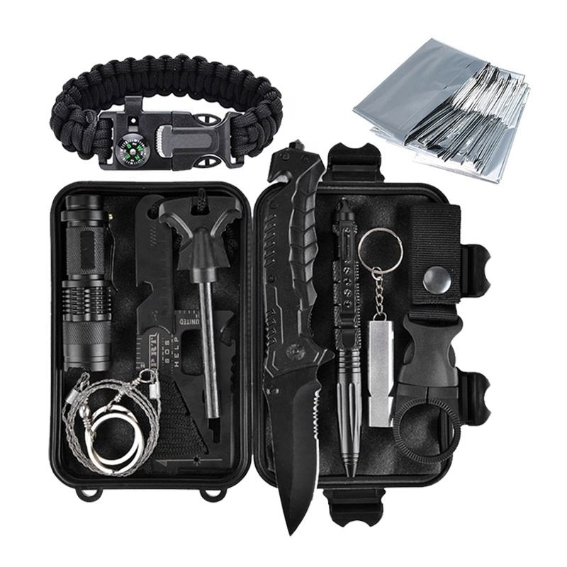 Outdoor Hot Sale SOS 12 in 1 Survive kit Outdoor Emergency Survive Tool Tactical Camping Survival Kit Military