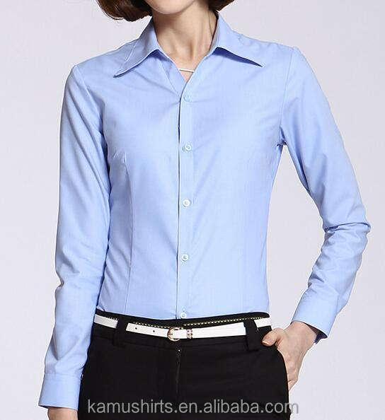 Long sleeve woman formal dress shirts cotton office lady dress blouse