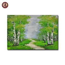 texture paint wall designs palette knife birch trees oil painting