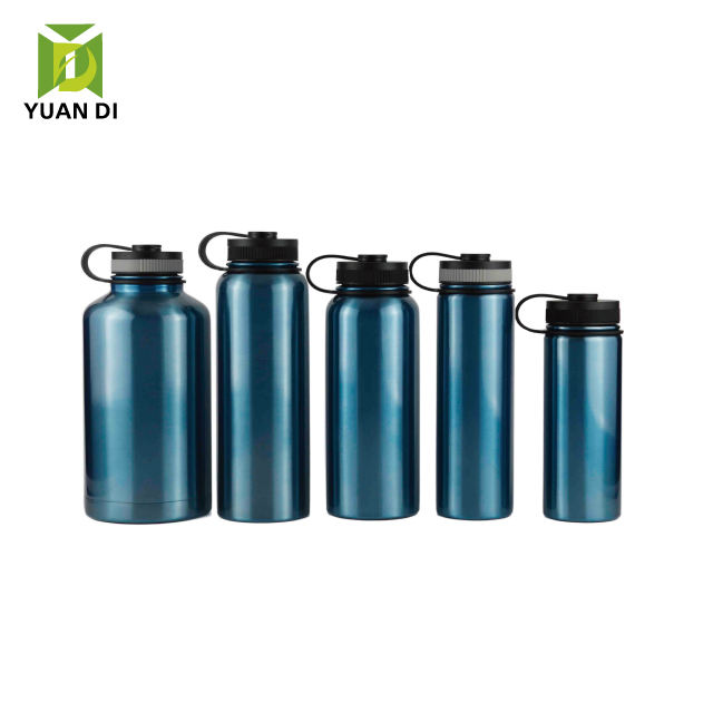 Yuandee vacuum flask shiny blue painting wide mouth sport water bottle