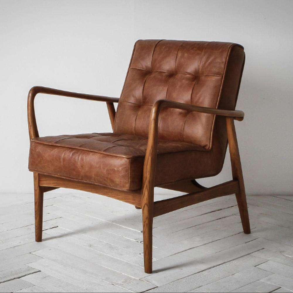 New Brad Vintage Leather Armchair Designer Wooden Armchair