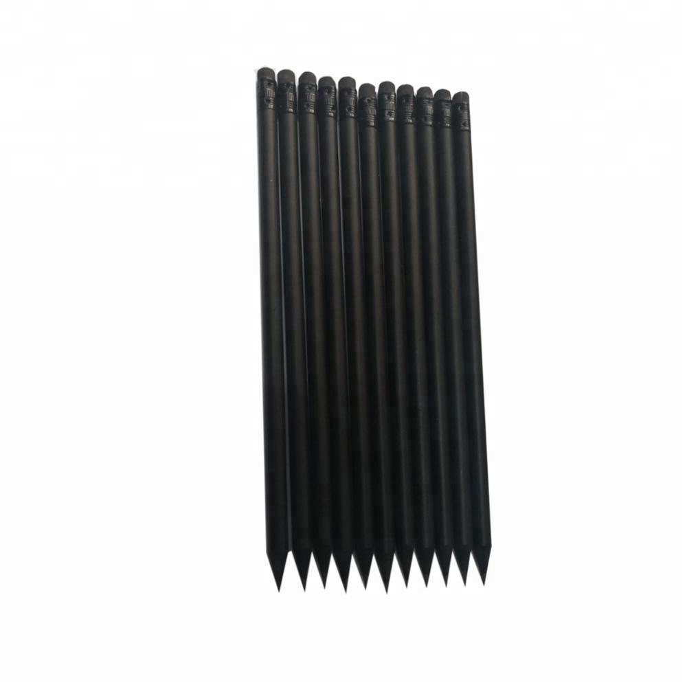 Standard Black Wood Pencil with Black Eraser on Top