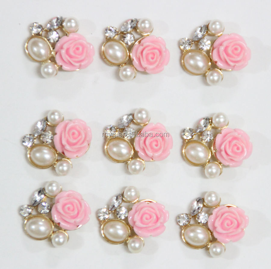 Wholesale rhinestone button Resin flower button Flatback button MYGRB051