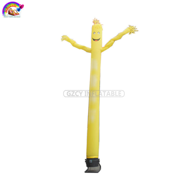 Yellow mini air dancer PVC sky dancer with blower inflatable woman air dancer for sale