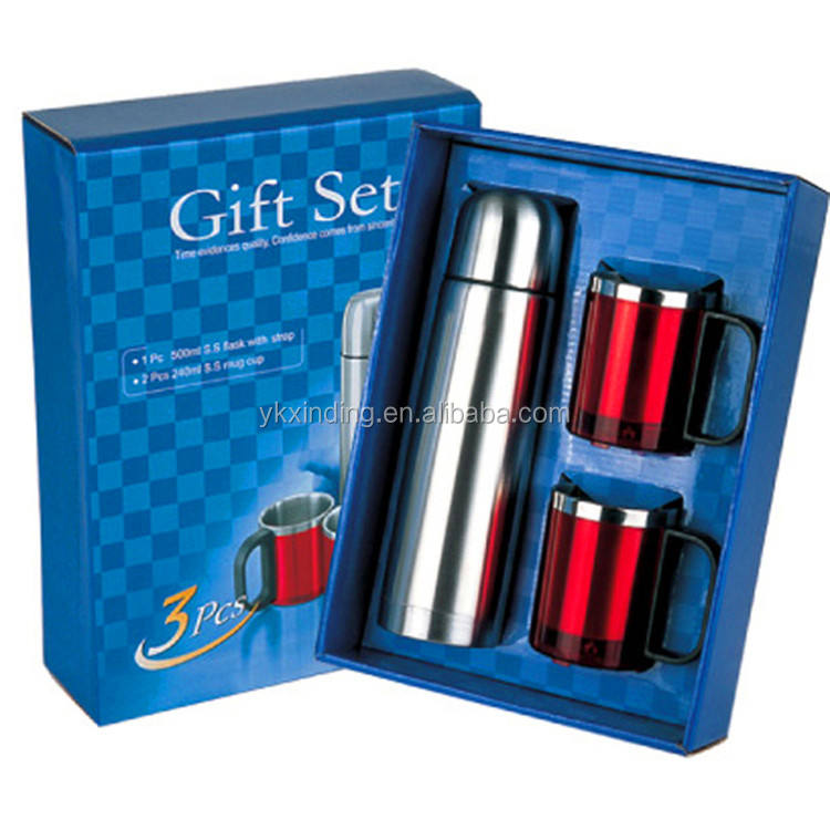 Gift box set of Stainless Coffee Flask & Two Mugs