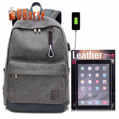 2018 High Quality Travel Rucksack Vintage Canvas Laptop Backpack School With USB Charging