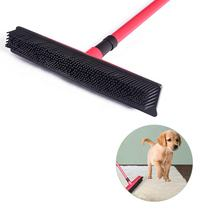 Multi-use pet carpet hair remover Soft Bristle Rubber Broom and Squeegee with Telescopic Handle