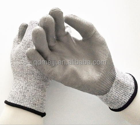 Hot sale products HPPE level 5 anti fully coated cut resistant PU coated safety named gloves protective working gloves