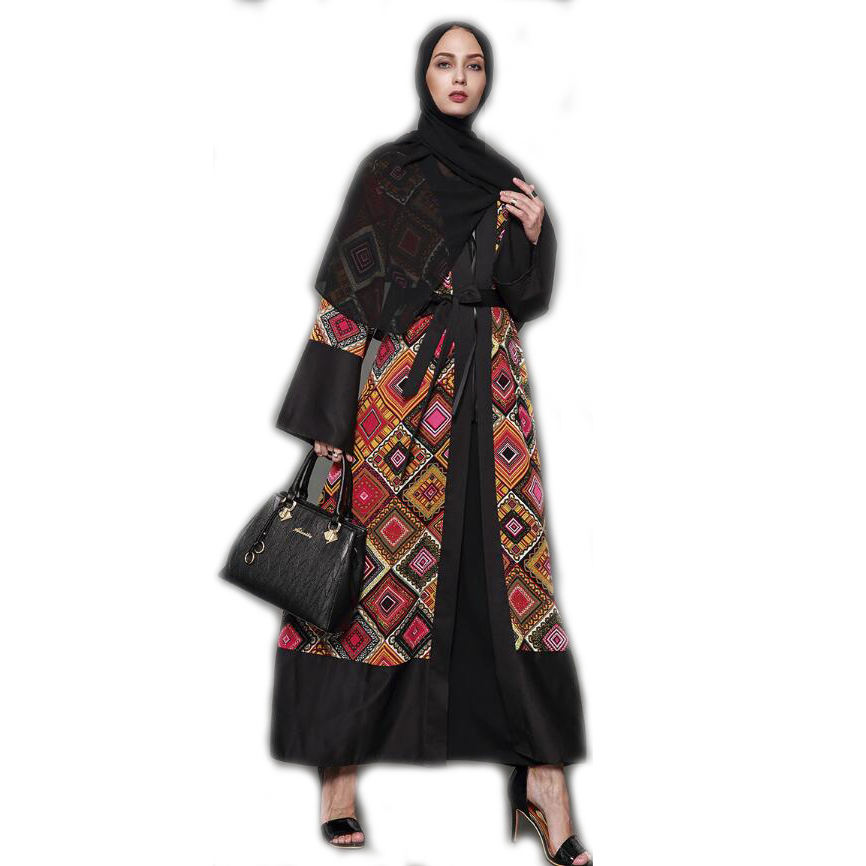 hit color floral printed dubai women open kaftan abaya muslim modern