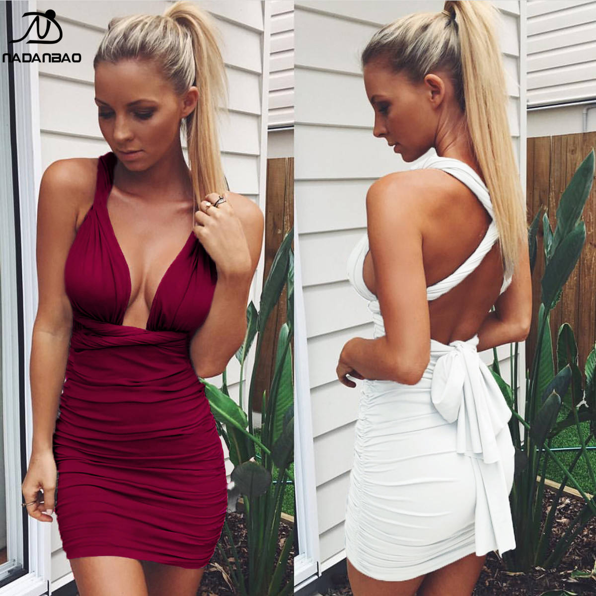Nadanbao Merk 2020 Best Selling Lady Sexy Wijn Rode Jurk Vrouwen Jurk Fashion V-hals Bandage Night Club Jurk