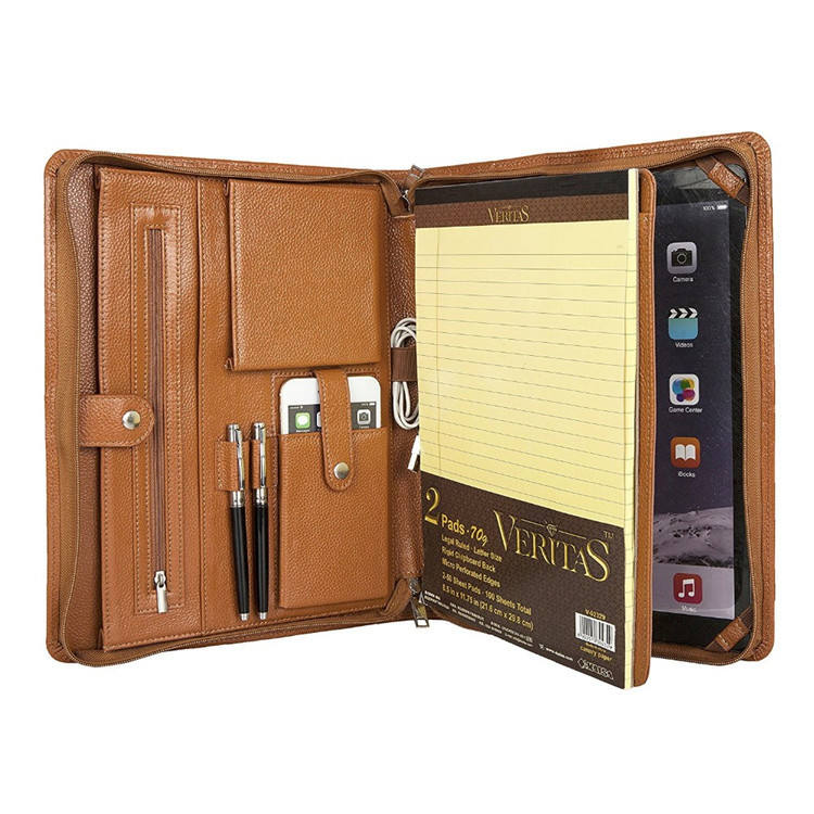 Shenzhen Bestandsmap Custom Travel Houder Ritssluiting A4 Pu Leather Portfolio Map Met Notepad