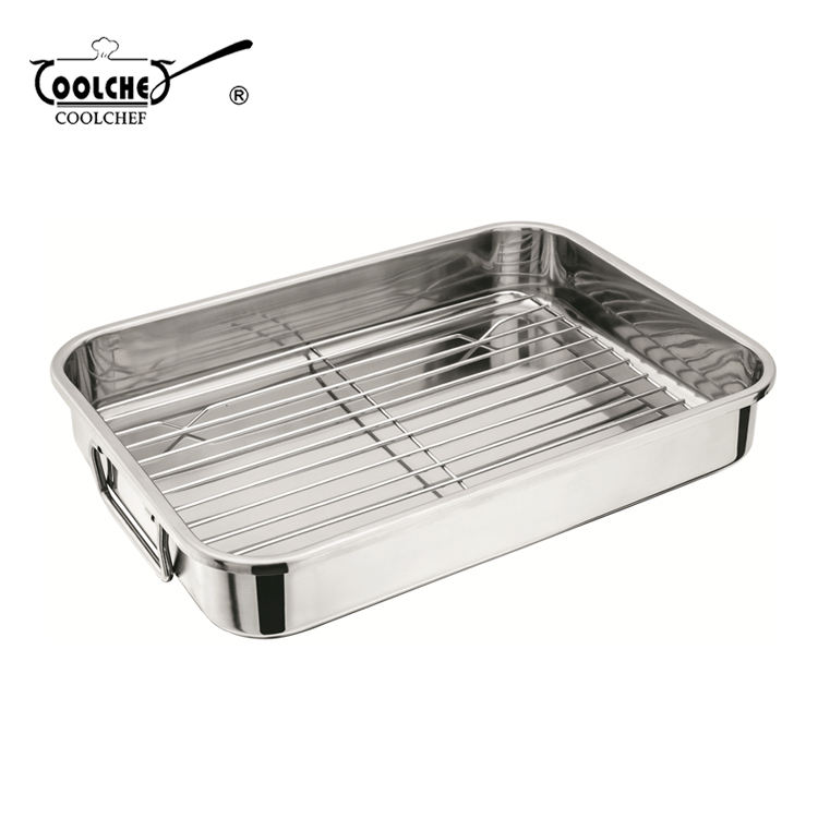 Stainless Steel Serving Tray Square Roasting Pan With Rack