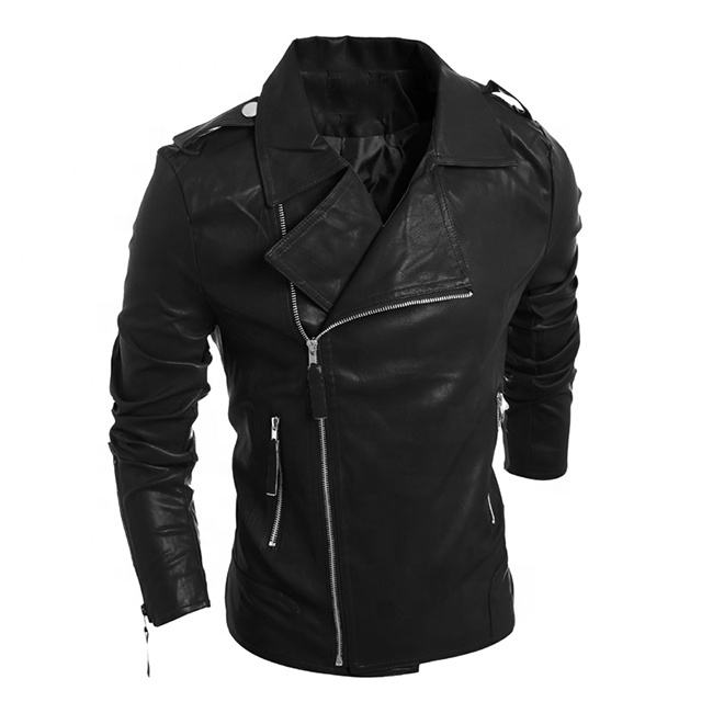 Wholesale fashion slim zipper slant shoulder cheapest man's PU jackets