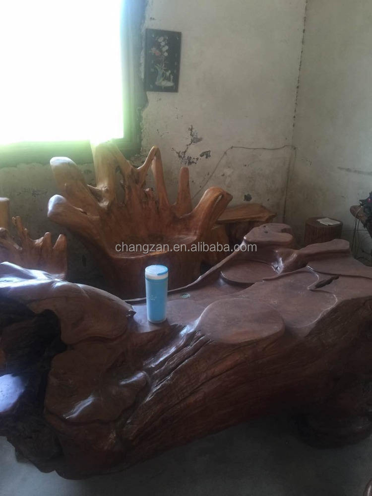 Natural Color Hot New Products Hand Carved Fir Root Wood Tea Table